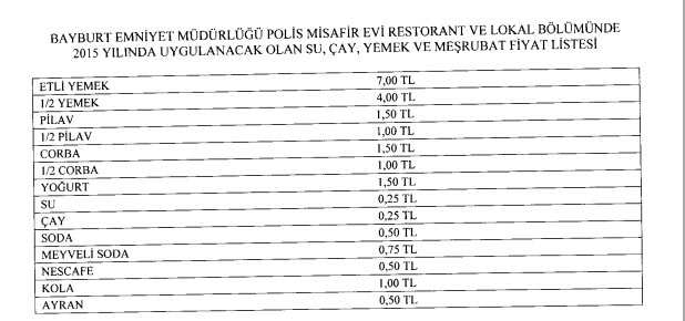 bayburt polis evi yemek fiyatları
